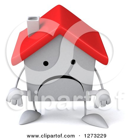 Clipart of a 3d Unhappy White House Character Pouting - Royalty Free Illustration by Julos