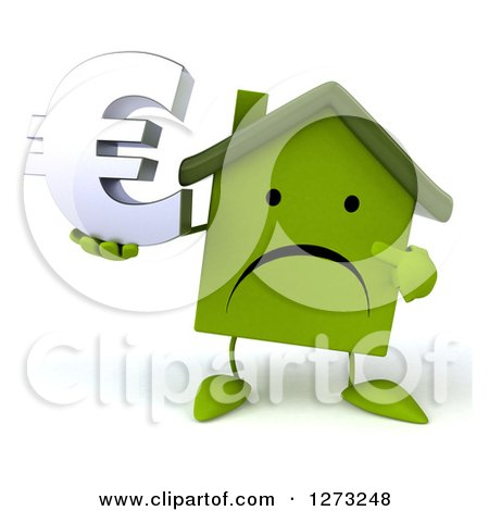 Clipart of a 3d Unhappy Green House Character Holding and Pointing to a Euro Symbol - Royalty Free Illustration by Julos