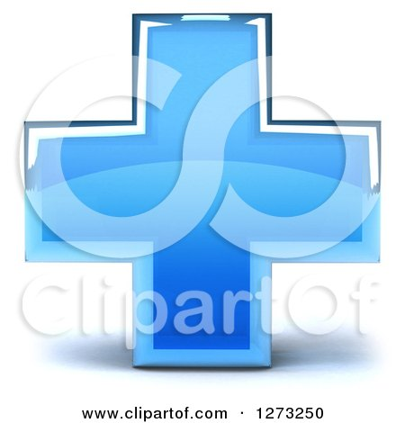 Clipart of a 3d Blue Glass Medical Cross - Royalty Free Illustration by Julos