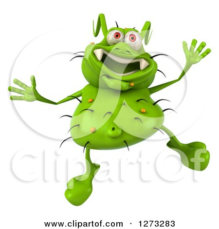 Clipart of a 3d Green Germ Jumping - Royalty Free Illustration by Julos