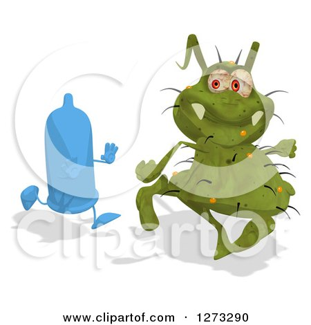 Clipart of a Blue Condom Character Chasing a Green Germ - Royalty Free Illustration by Julos