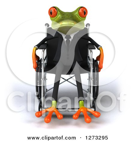 Clipart of a 3d Green Springer Business Frog Sitting in a Wheelchair - Royalty Free Illustration by Julos