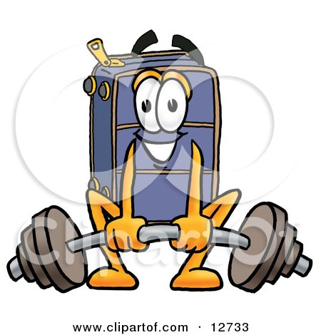Clipart Picture of a Suitcase Cartoon Character Lifting a Heavy Barbell by Toons4Biz