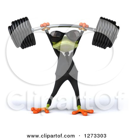 Clipart of a 3d Green Springer Business Frog Wearing Sunglasses and Lifting up a Barbell - Royalty Free Illustration by Julos