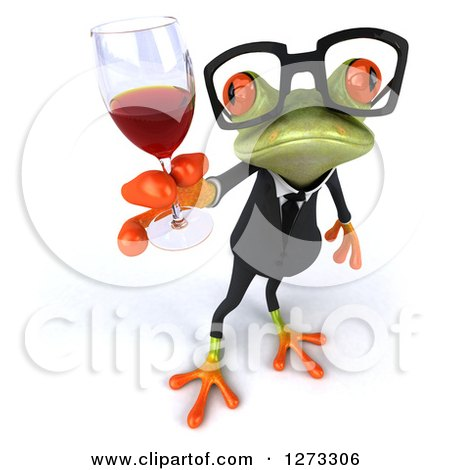 Clipart of a 3d Bespectacled Green Springer Business Frog Holding up a Glass of Red Wine - Royalty Free Illustration by Julos