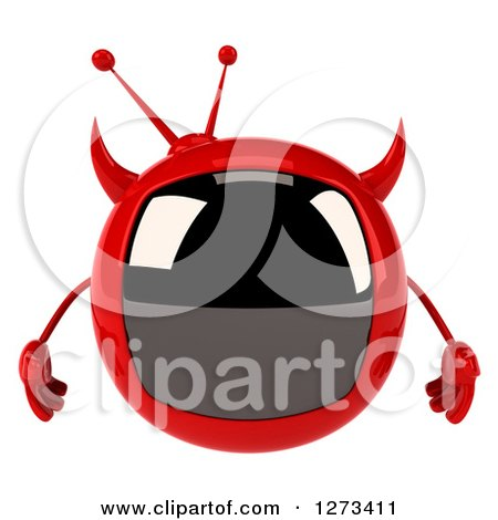 Clipart of a 3d Evil Devil Tv - Royalty Free Illustration by Julos