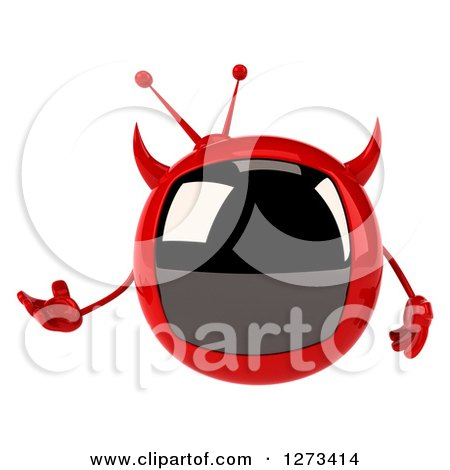Clipart of a 3d Evil Devil Tv Presenting - Royalty Free Illustration by Julos