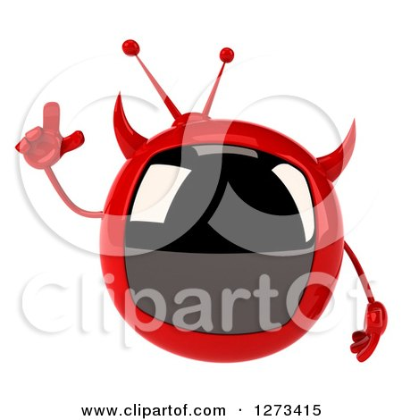 Clipart of a 3d Evil Devil Tv Holding up a Finger - Royalty Free Illustration by Julos