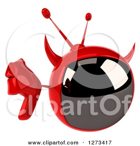 Clipart of a 3d Evil Devil Tv Holding up a Thumb down - Royalty Free Illustration by Julos