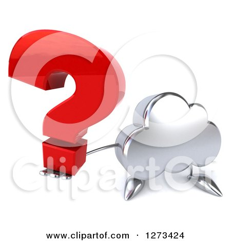 Clipart of a 3d Silver Cloud Character Holding up a Question Mark - Royalty Free Illustration by Julos