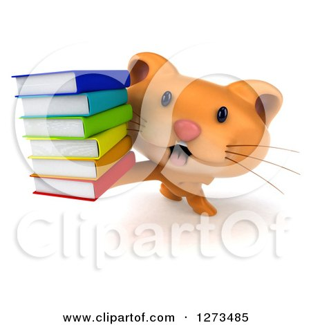 Clipart of a 3d Ginger Cat Holding up a Stack of Books - Royalty Free Illustration by Julos