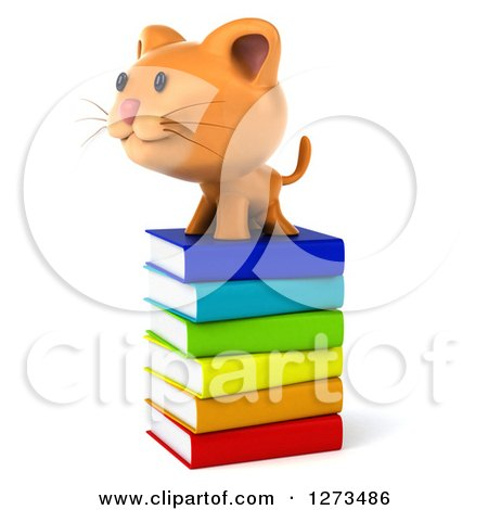 Clipart of a 3d Ginger Cat Facing Left on a Stack of Books - Royalty Free Illustration by Julos