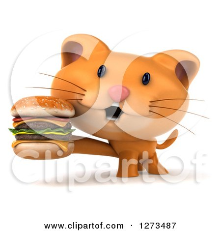 Clipart of a 3d Ginger Cat Holding a Double Cheeseburger - Royalty Free Illustration by Julos