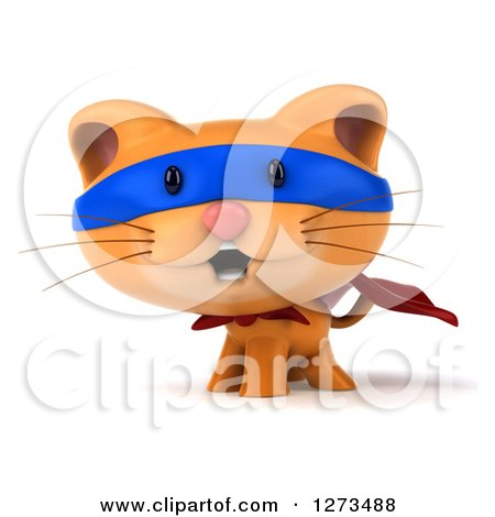 Clipart of a 3d Super Hero Ginger Cat - Royalty Free Illustration by Julos