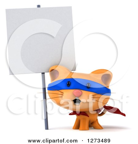 Clipart of a 3d Super Hero Ginger Cat by a Blank Sign - Royalty Free Illustration by Julos