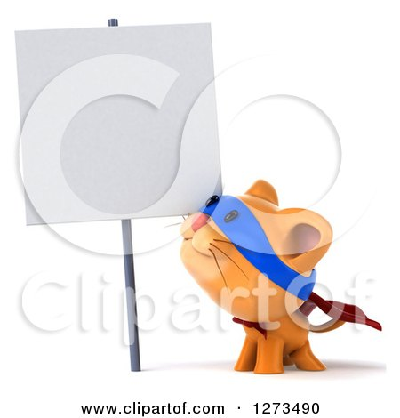Clipart of a 3d Super Hero Ginger Cat Looking up at a Blank Sign - Royalty Free Illustration by Julos