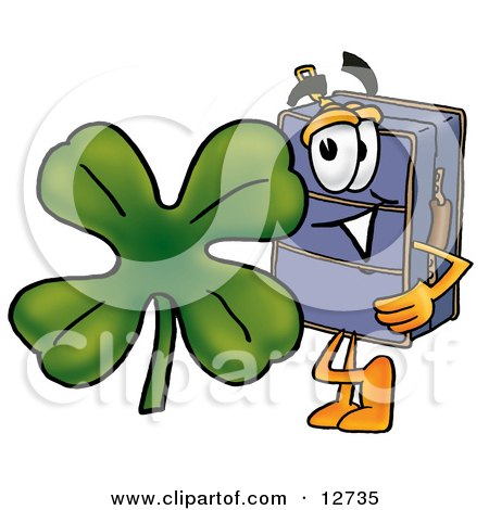 Clipart Picture of a Suitcase Cartoon Character With a Green Four Leaf Clover on St Paddy's or St Patricks Day by Toons4Biz