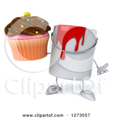 3d Can of Red Paint Character Shrugging and Holding a Chocolate Frosted Cupcake Posters, Art Prints