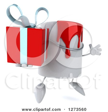3d Can of Red Paint Character Facing Right, Jumping and Holding a Gift Posters, Art Prints