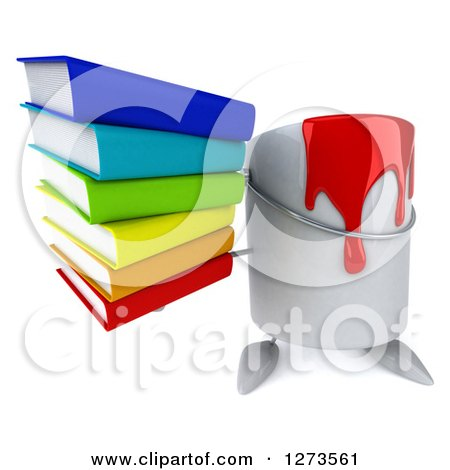3d Can of Red Paint Character Holding up a Stack of Books Posters, Art Prints