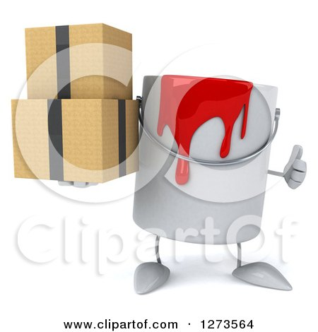 3d Can of Red Paint Character Holding a Thumb up and Boxes Posters, Art Prints