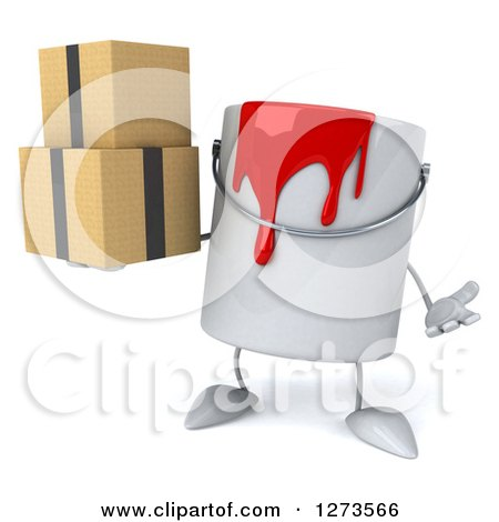 3d Can of Red Paint Character Shrugging and Holding Boxes Posters, Art Prints