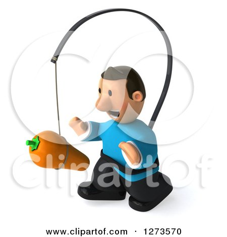 Clipart of a 3d Casual White Man in a Blue Shirt, Facing Left and Chasing a Carrot on a Stick - Royalty Free Illustration by Julos