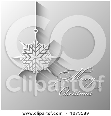 Clipart of a Merry Christmas Greeting and Suspended Snowflake Ornament on Gray - Royalty Free Vector Illustration by KJ Pargeter