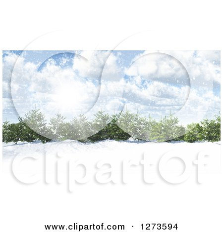 Clipart of a 3d Grove of Evergreen Trees in a Snowy Landscape on a Sunny Day - Royalty Free Illustration by KJ Pargeter