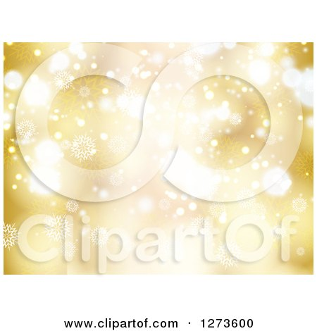 Clipart of a Gold Christmas Snowflake Background with Bright Bokeh Flares - Royalty Free Vector Illustration by KJ Pargeter