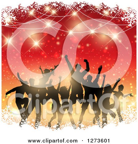 Clipart of a Silhouetted Group of People Dancing at a Christmas Party over Gradient Red and Orange with Snow and Flares - Royalty Free Vector Illustration by KJ Pargeter