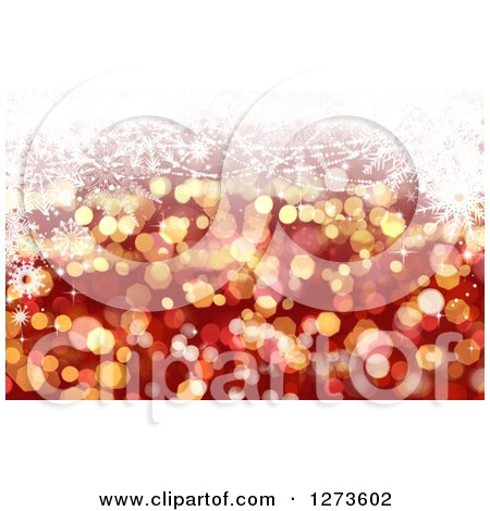 Clipart of a Red and Gold Christmas Background with Glittery Bokeh Lights and White Snowflakes - Royalty Free Illustration by KJ Pargeter