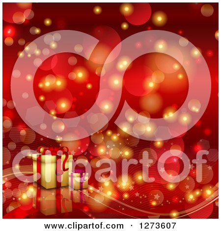 Clipart of a Red Christmas Bokeh Flare Background with 3d Gifts ...