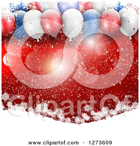 Clipart of 3d Red White and Blue Christmas Party Balloons over Red with Flares and Snowflakes on Hills - Royalty Free Vector Illustration by KJ Pargeter