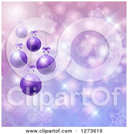 Clipart of a 3d Row of Christmas Baubles Suspended over Purple with Snowflakes and Bokeh - Royalty Free Vector Illustration by KJ Pargeter