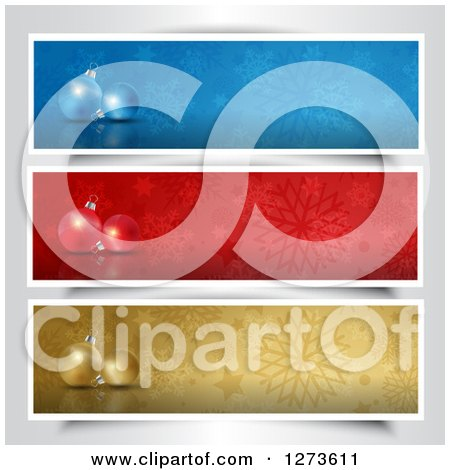 Clipart of 3d Christmas Baubles and Snowflakes on Blue, Red and Gold Website Banners - Royalty Free Vector Illustration by KJ Pargeter
