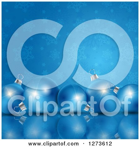 Clipart of a 3d Row of Christmas Baubles on a Reflective Surface over Blue and Snowflakes - Royalty Free Vector Illustration by KJ Pargeter