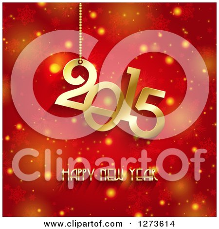 Clipart of a Gold 2015 Happy New Year Greeting over Red Snowflakes and Glowing Flares - Royalty Free Vector Illustration by KJ Pargeter