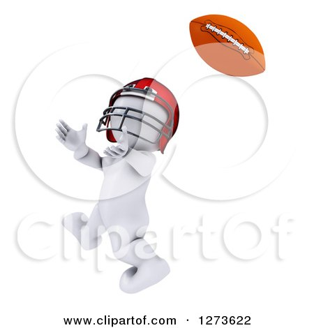 Clipart of a 3d White Man Football Player Catching - Royalty Free Illustration by KJ Pargeter
