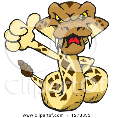 Clipart of a Happy Rattle Snake Giving a Thumb up - Royalty Free Vector Illustration by Dennis Holmes Designs