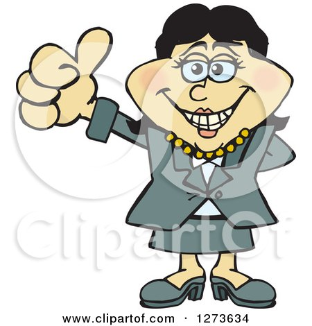 Clipart of a Happy Asian Business Woman Giving a Thumb up - Royalty Free Vector Illustration by Dennis Holmes Designs