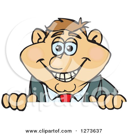 Clipart of a Happy White Businessman Peeking over a Sign - Royalty Free Vector Illustration by Dennis Holmes Designs