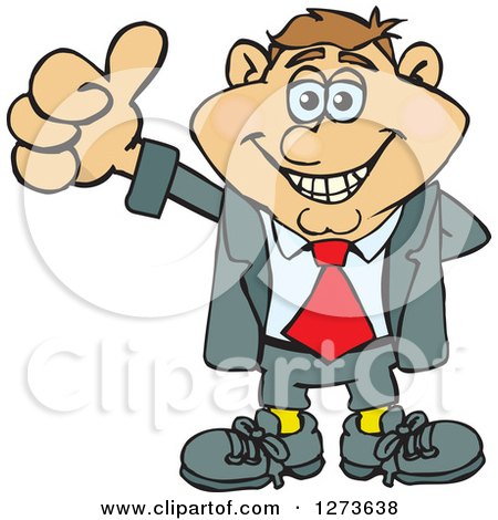 Clipart of a Happy White Businessman Giving a Thumb up - Royalty Free Vector Illustration by Dennis Holmes Designs