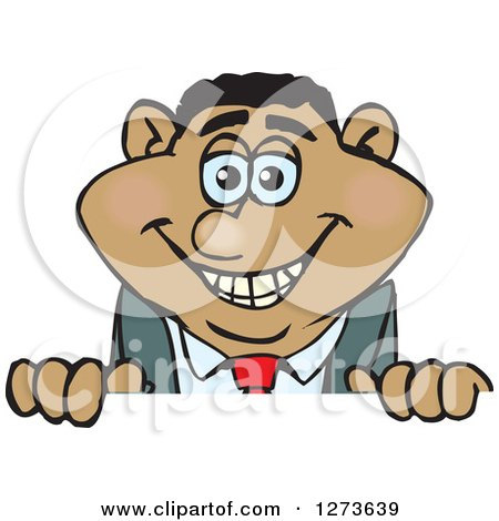 Clipart of a Happy Black Businessman Peeking over a Sign - Royalty Free Vector Illustration by Dennis Holmes Designs