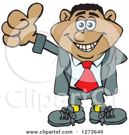 Clipart of a Happy Black Businessman Giving a Thumb up - Royalty Free Vector Illustration by Dennis Holmes Designs
