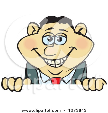 Clipart of a Happy Asian Businessman Peeking over a Sign - Royalty Free Vector Illustration by Dennis Holmes Designs