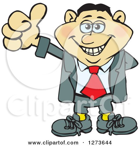 Clipart of a Happy Asian Businessman Giving a Thumb up - Royalty Free Vector Illustration by Dennis Holmes Designs