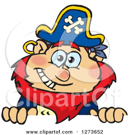 Clipart of a Happy Red Haired Male Pirate Peeking over a Sign - Royalty Free Vector Illustration by Dennis Holmes Designs