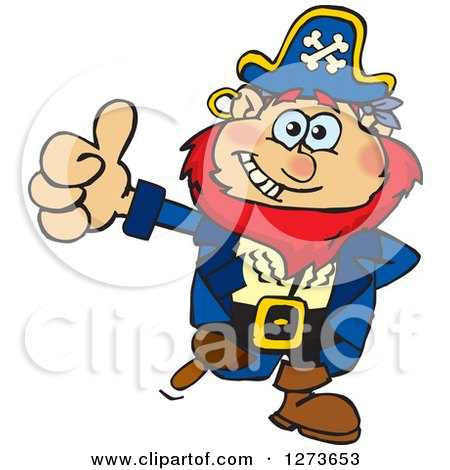 Clipart of a Happy Red Haired Male Pirate Giving a Thumb up - Royalty Free Vector Illustration by Dennis Holmes Designs