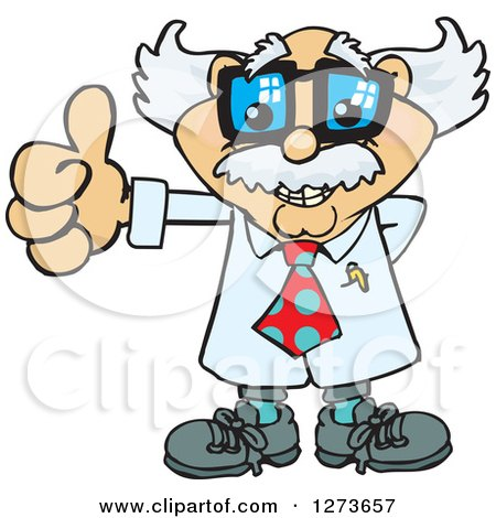 Clipart of a Happy White Male Senior Scientist Professor Giving a Thumb up - Royalty Free Vector Illustration by Dennis Holmes Designs